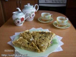 Рецепт открытого сдобного пирога.